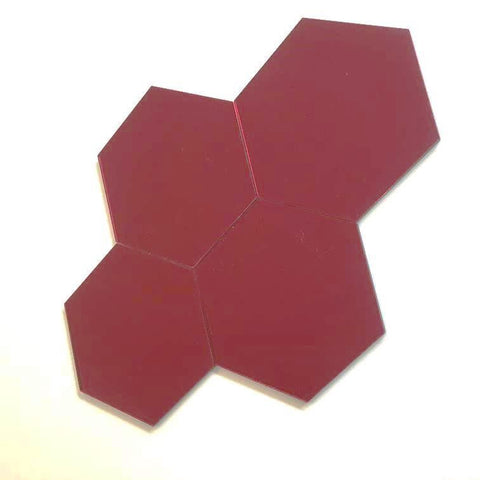 Hexagon Tiles - Red Mirror