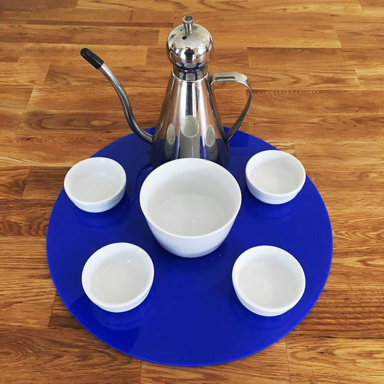 Round Serving Mat/Table Protector - Blue Gloss