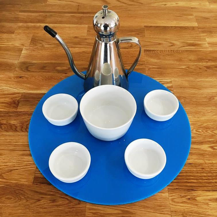 Round Serving Mat/Table Protector - Bright Blue Gloss