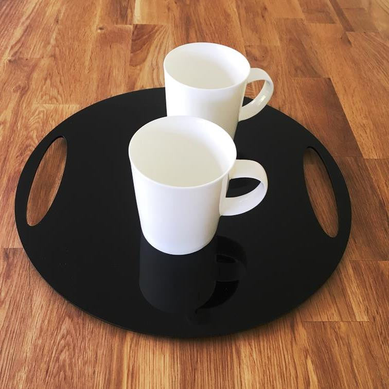 Round Flat Serving Tray - Black