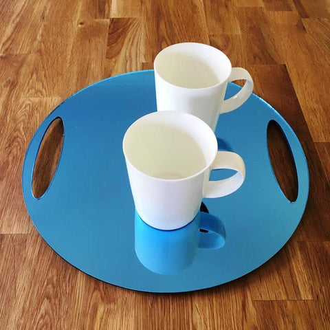 Round Flat Serving Tray - Blue Mirror