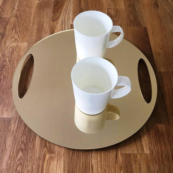 Round Flat Serving Tray - Gold Mirror
