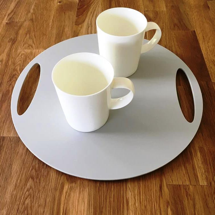 Round Flat Serving Tray - Light Grey