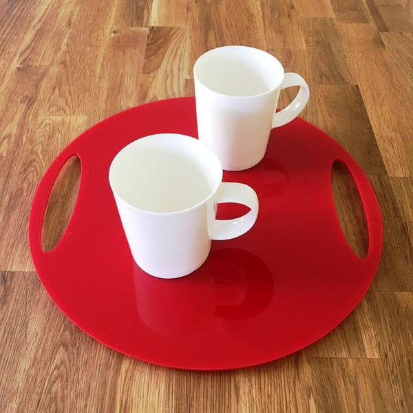 Round Flat Serving Tray - Red