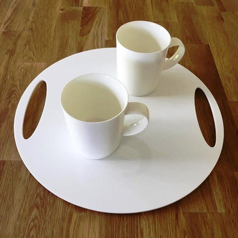 Round Flat Serving Tray - White