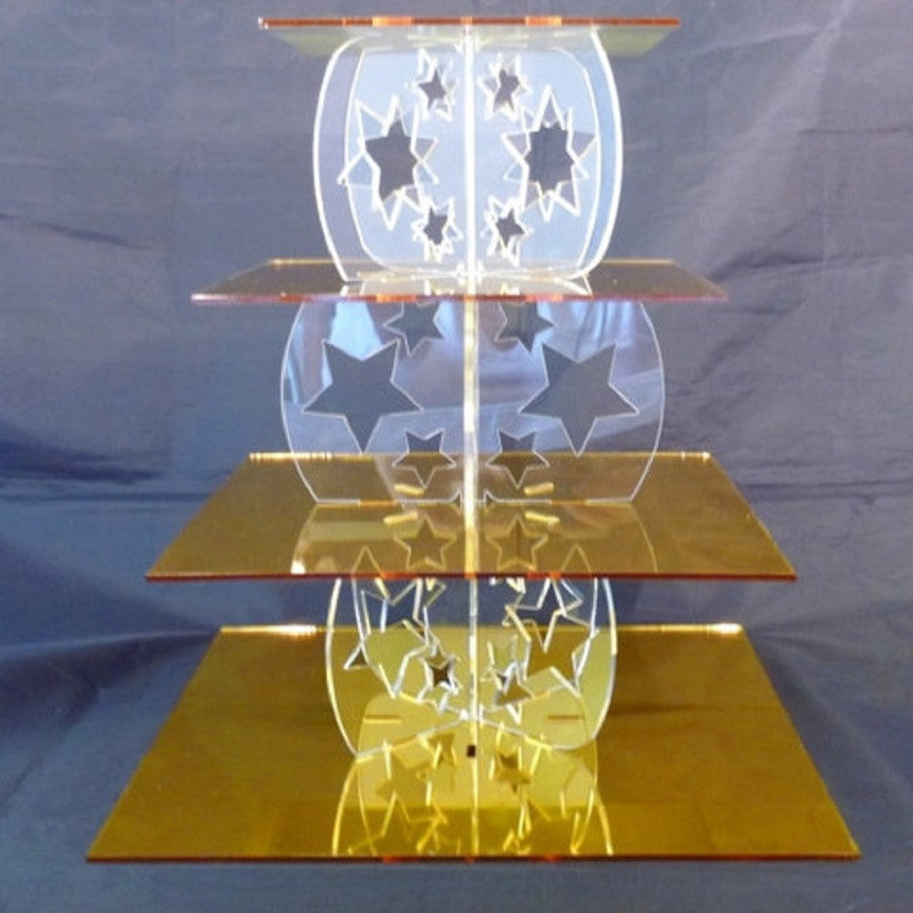 Four Tier Star Design Square Cake Stand