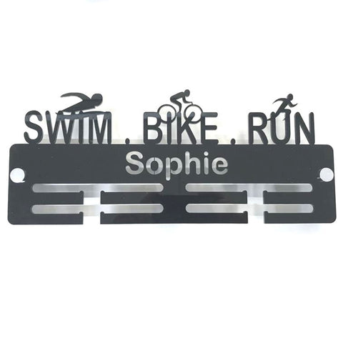 "Personalised ""Swimmer, Biker, Runner"" Medal Hanger"