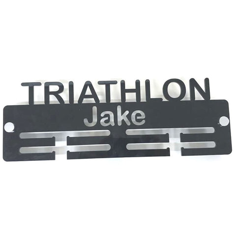 "Personalised ""Triathlon"" Medal Hanger"