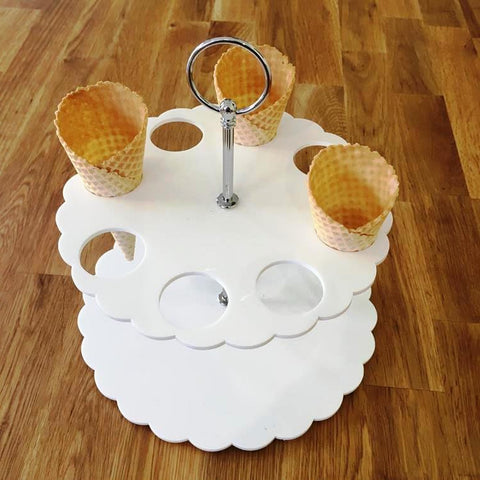 Ice Cream Cone Stand - White