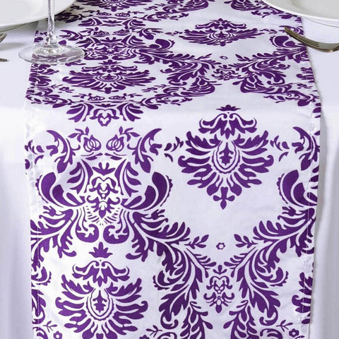 Purple & White Damask Table Runner