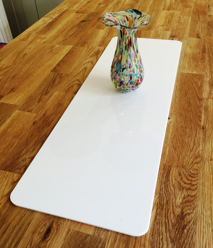 White Rectangular Acrylic Table Runner