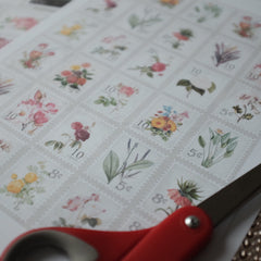 Postage Stamps Florals - Printable Stickers