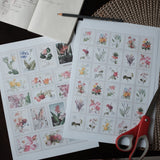 Bundle Postage Stamps Florals, Greens, Birds - Printable Stickers