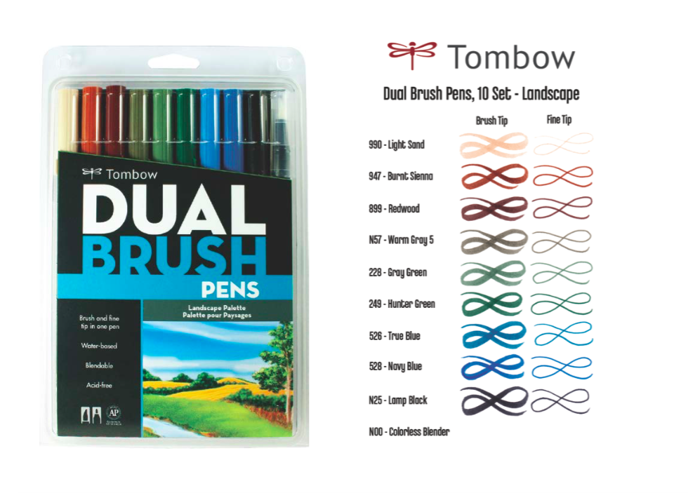 Tombow 10 Color Set Landscape Pallette
