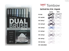 Tombow 10 Color Set Grayscale Pallette