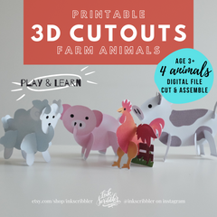 3D Cutouts: Farm Animals
