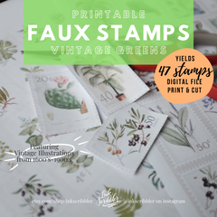 Postage Stamps Greens - Printable Stickers