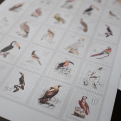 Postage Stamps Birds - Printable Stickers