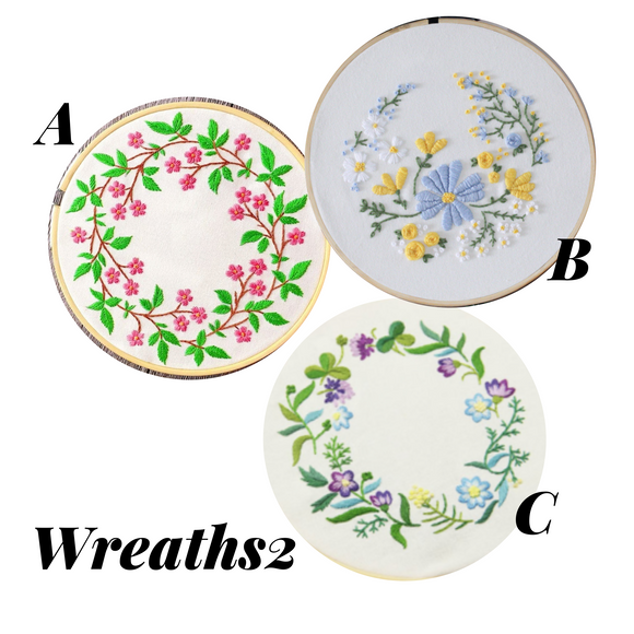 Wreath Embroidery Kit (col. 2) - The Craft Central