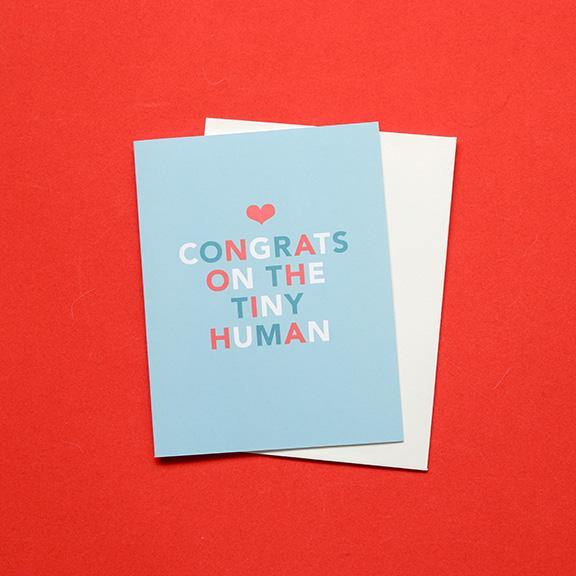 Folded Greeting Card - Congrats Tiny Human by Design Hatch - The Craft Central