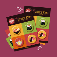 Japanese Food Button Pin Set