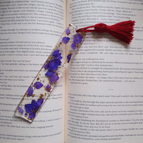 Dried Flowers Resin Bookmark