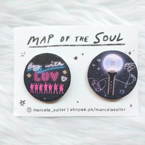 BTS Boy with Luv & Army Bomb Glitter Pins - The Craft Central