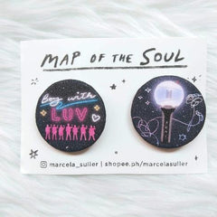 BTS Boy with Luv & Army Bomb Glitter Pins by Marcela Suller