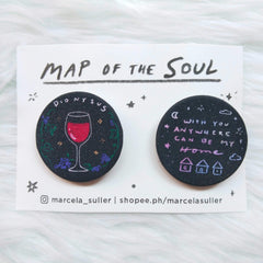 BTS Dionysus & Home Glitter Pins by Marcela Suller