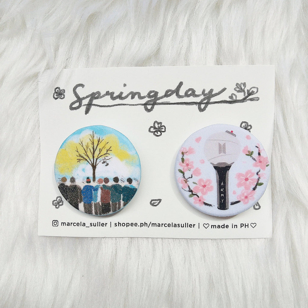 BTS Spring Day Glitter Pins by Marcela Suller