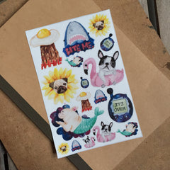 Pugflower Sticker Set