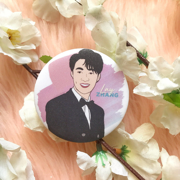 EXO Lay 52mm Glittered Button Pin