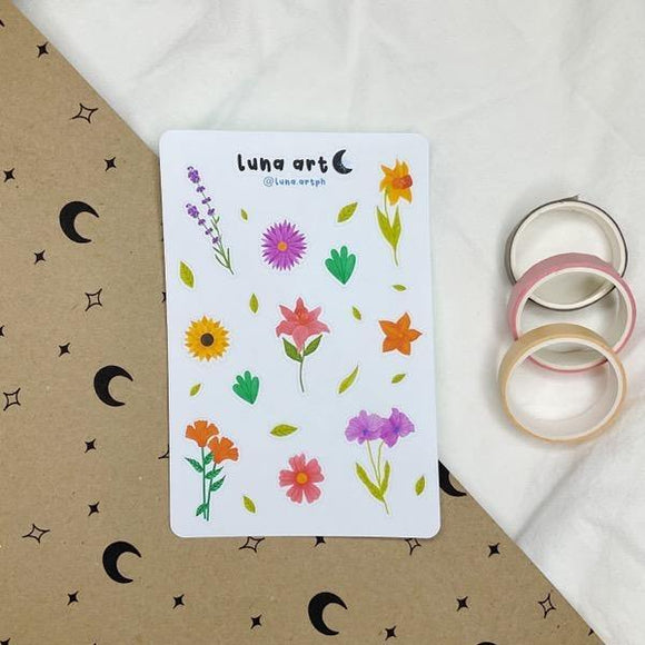 LUNA ART Flowers Sticker Sheet