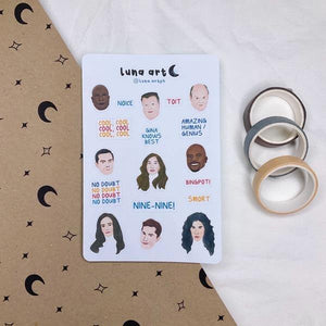 LUNA ART Brooklyn Nine Nine Sticker Sheet