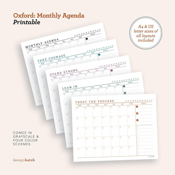 Oxford: Monthly Agenda
