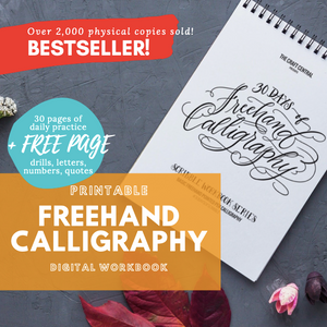 Printable Workbook: Freehand Calligraphy