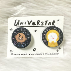 Shooky & Chimmy Glitter Pins by Marcela Suller