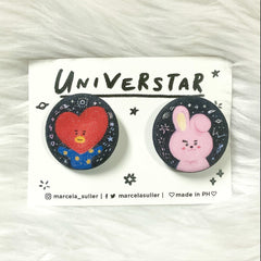 Tata & Cooky Glitter Pins by Marcela Suller