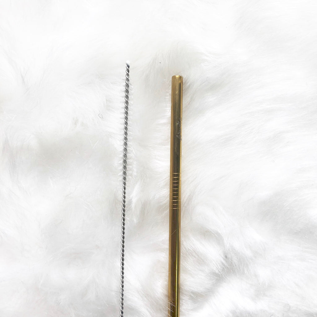 Reusable Straight Straw with cleaning brush- Gold