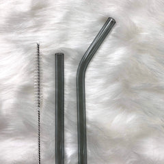 Reusable Glass Straight Straw with cleaning brush