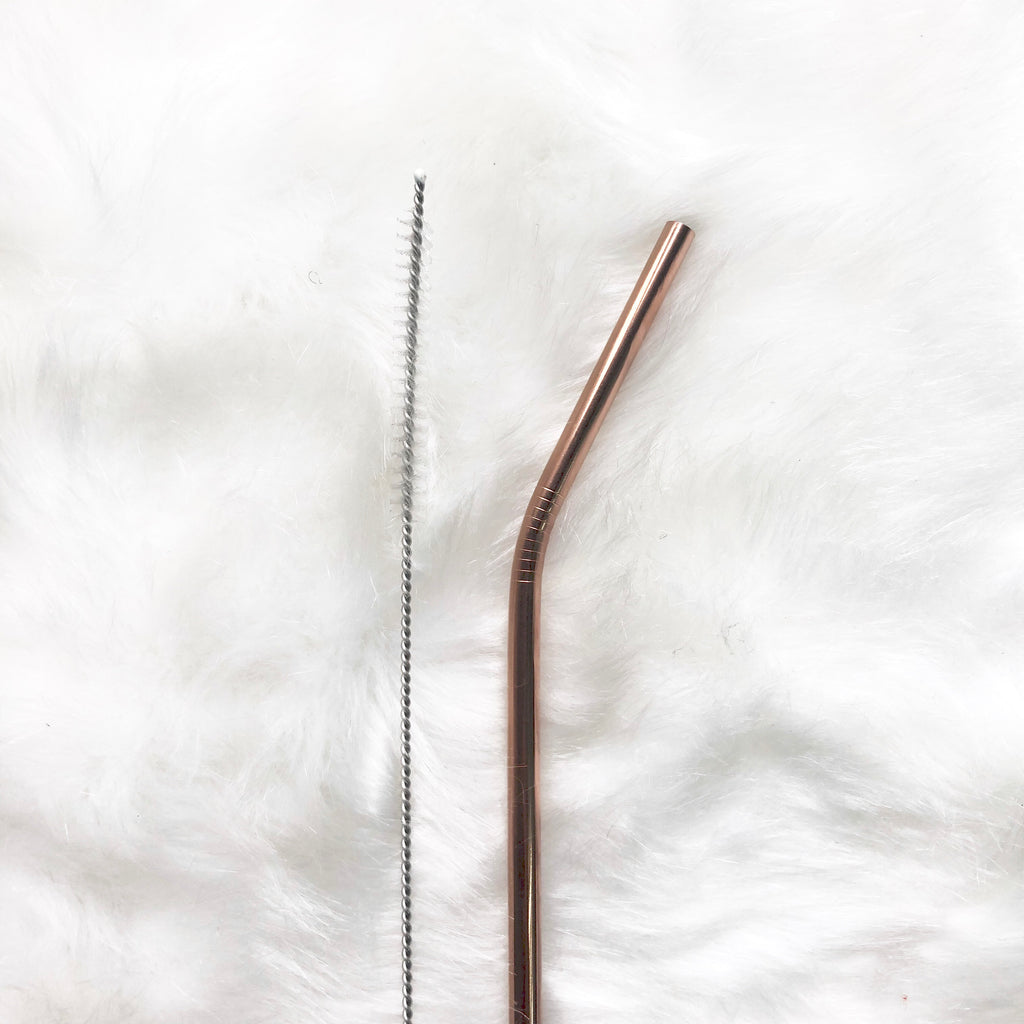 Reusable Bend Straw with cleaning brush - Rose Gold