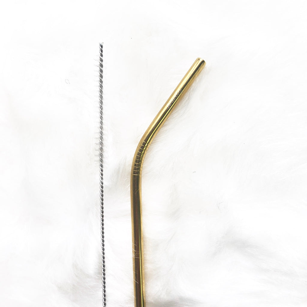 Reusable Bend Straw with cleaning brush- Gold