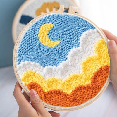 Moon and Clouds Punch Needle Kit - The Craft Central