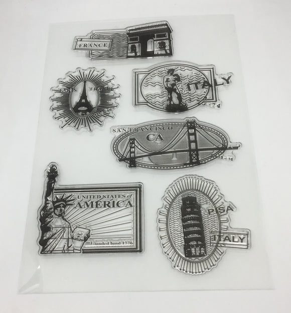 World Landmarks Sticky Stamp