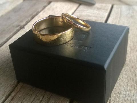 18ct gold handmade wedding rings