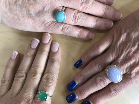 Bezel Set Rings Made by Students - Pod Jewellery