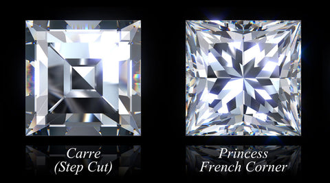 Carre and Princess Cut diamonds