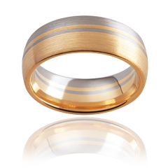 Multi-tone mens wedding rings