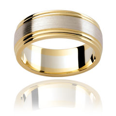 Multi-tone mens wedding ring