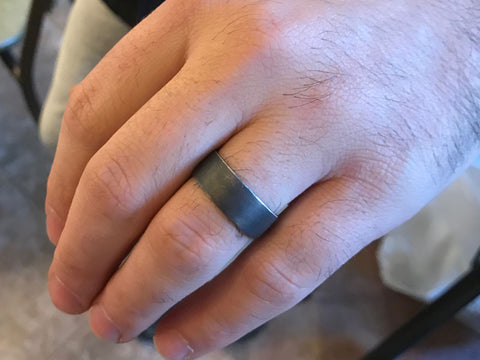Make your own wedding ring brushed oxidised silver